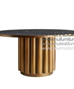 leg Salur Brass dining Table Marble, 120Dia x 75H cm